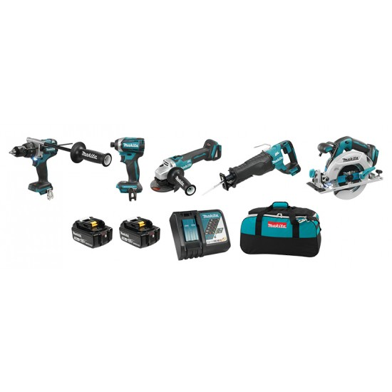DLX5041TX1 | Ensemble de 5 outils 18V (5,0 Ah) LXT Makita Brushless